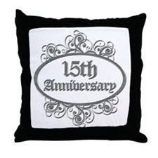 15th Wedding Aniversary (Engraved) Throw Pillow