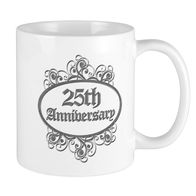 Engraved Wedding Mugs : 25th Wedding Aniversary (Engraved) Mug by pixelstreetann