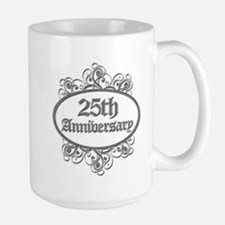 25th Wedding Aniversary (Engraved) Large Mug