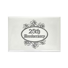 25th Wedding Aniversary (Engraved) Rectangle Magne
