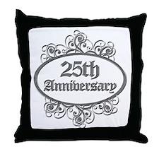 25th Wedding Aniversary (Engraved) Throw Pillow