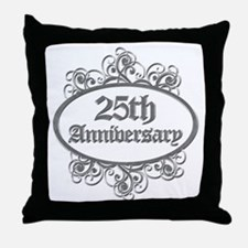 25th Wedding Aniversary (Engraved) Throw Pillow