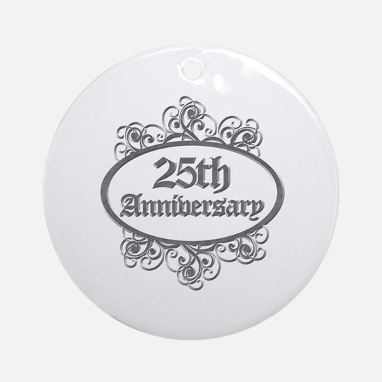 25th Wedding Aniversary (Engraved) Ornament (Round