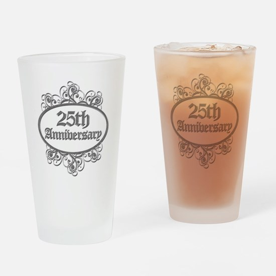 25th Wedding Aniversary (Engraved) Drinking Glass