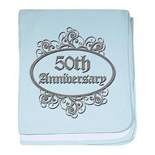 50th Wedding Aniversary (Engraved) baby blanket
