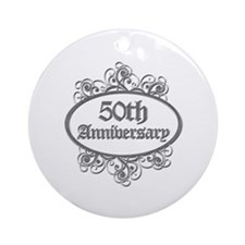 50th Wedding Aniversary (Engraved) Ornament (Round