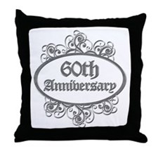 60th Wedding Aniversary (Engraved) Throw Pillow