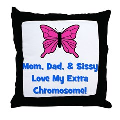 Mom, Dad, & Sissy - Extra Chr Throw Pillow