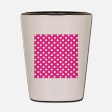 Hot pink and white polka dots Shot Glass