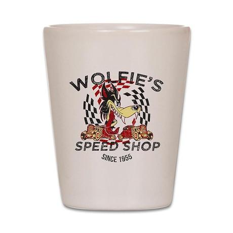 Wolfie's Speed Shop Shot Glass