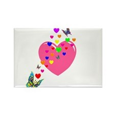 Hearts and Butterflies Rectangle Magnet