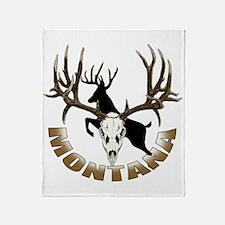 Montana deer skull Throw Blanket