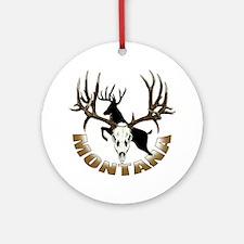 Montana deer skull Ornament (Round)
