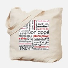 Red Bon appetit in different languages Tote Bag