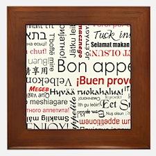 Red Bon appetit in different languages Framed Tile