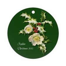 Personalized Vintage Victorian Holly Rose Ornament