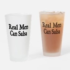 REAL MEN CAN SALSA Drinking Glass