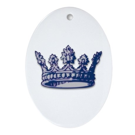 Medieval Blue Crown Oval Ornament