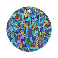 Blue abstract mosaic Round Ornament