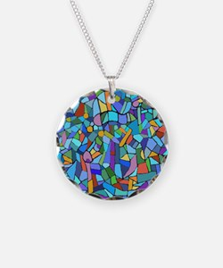 Blue abstract mosaic Necklace