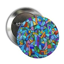 "Blue abstract mosaic 2.25"" Button"
