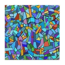 Blue abstract mosaic Tile Coaster