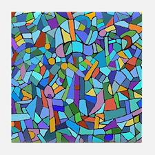 Blue abstract mosaic Tile Coaster