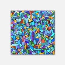 """Blue abstract mosaic Square Sticker 3"""" x 3"""""""
