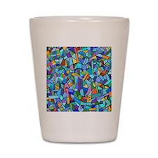 Blue abstract mosaic Shot Glass