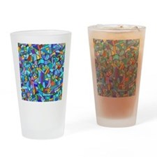 Blue abstract mosaic Drinking Glass