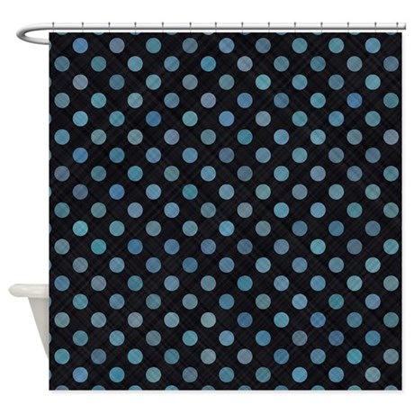 Blue Dots On Black Shower Curtain By Laughoutlouddesigns1