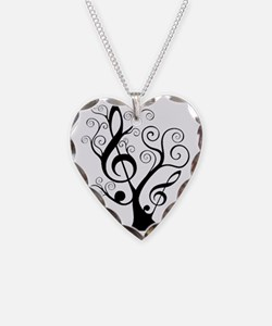 music tree Necklace Heart Charm