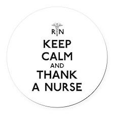 Keep Calm And Thank A Nurse Round Car Magnet