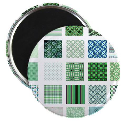 Green squares pattern Magnet