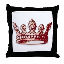 Medieval Red Crown Throw Pillow