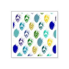 "Modern peacock feather patt Square Sticker 3"" x 3"""