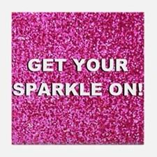 Get your sparkle on (faux glitter) Tile Coaster