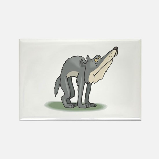 Funny Grey Wolf Rectangle Magnet