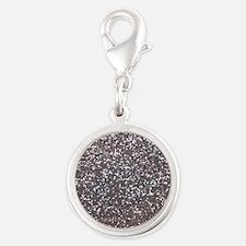 Faux silver glitter Silver Round Charm