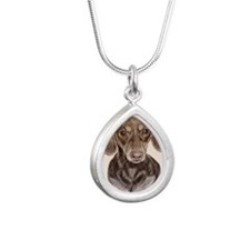 Daschund Silver Teardrop Necklace