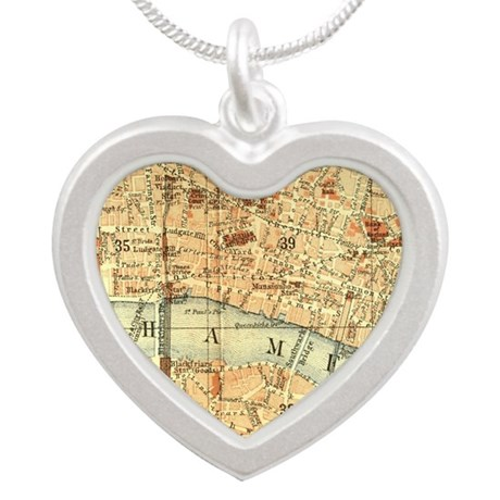 Vintage map of London Silver Heart Necklace