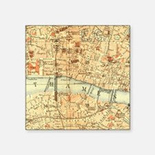 "Vintage map of London Square Sticker 3"" x 3"""