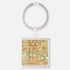 Vintage map of London Square Keychain