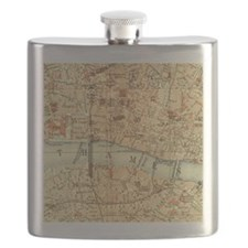 Vintage map of London Flask