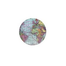 Vintage World travel map Mini Button