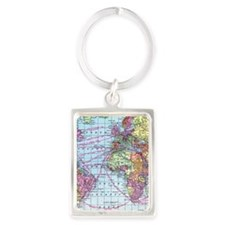 Vintage World travel map Portrait Keychain