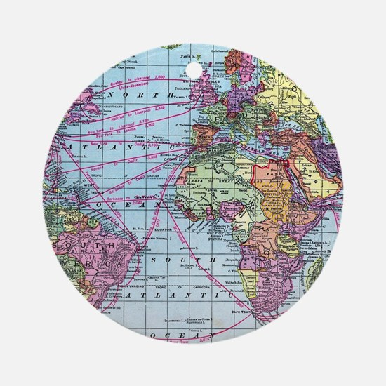 Vintage World travel map Round Ornament