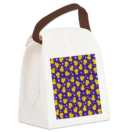 Purple rubber ducky pattern Canvas Lunch Bag