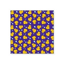 "Purple rubber ducky pattern Square Sticker 3"" x 3"""
