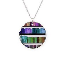 Rainbow bookshelf Necklace Circle Charm